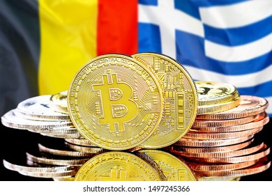 Concept for investors in cryptocurrency and Blockchain technology in the Belgium and Greece. Bitcoins on the background of the flag Belgium and Greece.