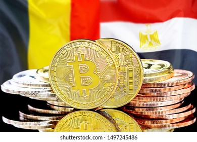 Concept for investors in cryptocurrency and Blockchain technology in the Belgium and Egypt. Bitcoins on the background of the flag Belgium and Egypt.