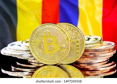Concept for investors in cryptocurrency and Blockchain technology in the Belgium and Moldova. Bitcoins on the background of the flag Belgium and Moldova.