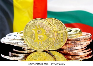 Concept for investors in cryptocurrency and Blockchain technology in the Belgium and Bulgaria. Bitcoins on the background of the flag Belgium and Bulgaria.