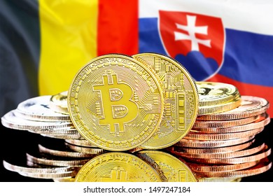 Concept for investors in cryptocurrency and Blockchain technology in the Belgium and Slovakia. Bitcoins on the background of the flag Belgium and Slovakia.