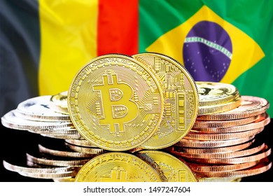 Concept for investors in cryptocurrency and Blockchain technology in the Belgium and Brazil. Bitcoins on the background of the flag Belgium and Brazil.
