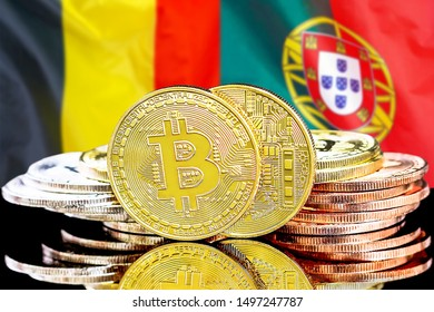 Concept for investors in cryptocurrency and Blockchain technology in the Belgium and Portugal. Bitcoins on the background of the flag Belgium and Portugal.