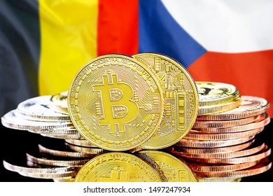 Concept for investors in cryptocurrency and Blockchain technology in the Belgium and Czech Republic. Bitcoins on the background of the flag Belgium and Czech Republic.