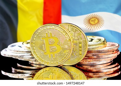 Concept for investors in cryptocurrency and Blockchain technology in the Belgium and Argentina. Bitcoins on the background of the flag Belgium and Argentina.