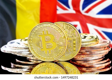 Concept for investors in cryptocurrency and Blockchain technology in the Belgium and United Kingdom. Bitcoins on the background of the flag Belgium and UK.