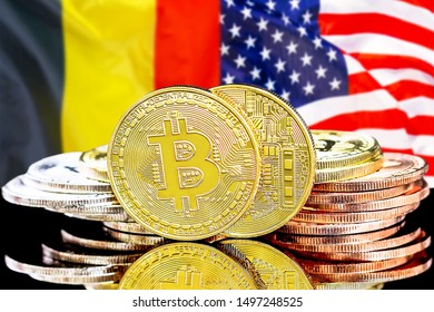 Concept for investors in cryptocurrency and Blockchain technology in the Belgium and United States of America. Bitcoins on the background of the flag Belgium and US.