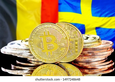 Concept for investors in cryptocurrency and Blockchain technology in the Belgium and Sweden. Bitcoins on the background of the flag Belgium and Sweden.