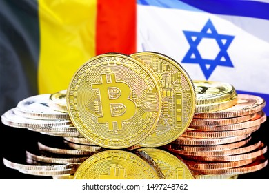 Concept for investors in cryptocurrency and Blockchain technology in the Belgium and Israel. Bitcoins on the background of the flag Belgium and Israel.