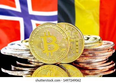 Concept for investors in cryptocurrency and Blockchain technology in the Belgium and Norway. Bitcoins on the background of the flag Belgium and Norway.