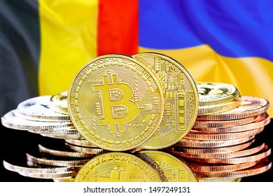 Concept for investors in cryptocurrency and Blockchain technology in the Belgium and Ukraine. Bitcoins on the background of the flag Belgium and Ukraine.