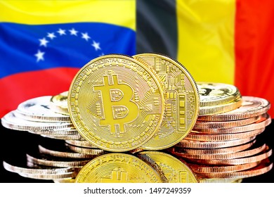 Concept for investors in cryptocurrency and Blockchain technology in the Belgium and Venezuela. Bitcoins on the background of the flag Belgium and Venezuela.