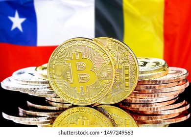 Concept for investors in cryptocurrency and Blockchain technology in the Belgium and Chile. Bitcoins on the background of the flag Belgium and Chile.