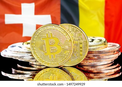 Concept for investors in cryptocurrency and Blockchain technology in the Belgium and Switzerland. Bitcoins on the background of the flag Belgium and Switzerland.