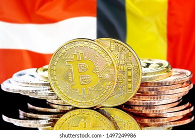 Concept for investors in cryptocurrency and Blockchain technology in the Belgium and Austria. Bitcoins on the background of the flag Belgium and Austria.