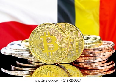 Concept for investors in cryptocurrency and Blockchain technology in the Belgium and Poland. Bitcoins on the background of the flag Belgium and Poland.