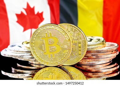 Concept for investors in cryptocurrency and Blockchain technology in the Belgium and Canada. Bitcoins on the background of the flag Belgium and Canada.