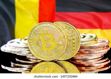 Concept for investors in cryptocurrency and Blockchain technology in the Belgium and Germany. Bitcoins on the background of the flag Belgium and Germany.