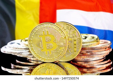 Concept for investors in cryptocurrency and Blockchain technology in the Belgium and Dutch. Bitcoins on the background of the flag Belgium and Netherlands.