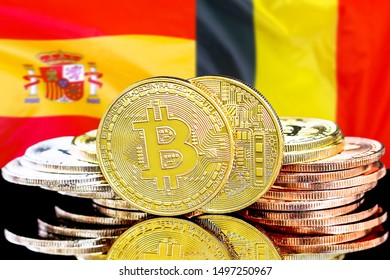 Concept for investors in cryptocurrency and Blockchain technology in the Belgium and Spain. Bitcoins on the background of the flag Belgium and Spain.