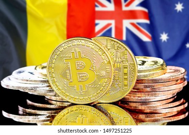 Concept for investors in cryptocurrency and Blockchain technology in the Belgium and Australia. Bitcoins on the background of the flag Belgium and Australia.
