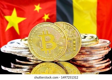 Concept for investors in cryptocurrency and Blockchain technology in the Belgium and China. Bitcoins on the background of the flag Belgium and China.