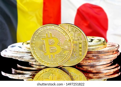 Concept for investors in cryptocurrency and Blockchain technology in the Belgium and Japan. Bitcoins on the background of the flag Belgium and Japan.