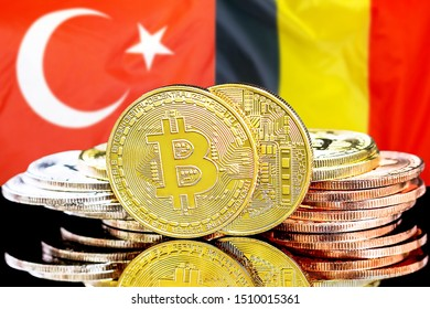 Concept for investors in cryptocurrency and Blockchain technology in the Turkey and Belgium. Bitcoins on the background of the flag Turkey and Belgium.
