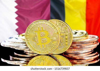 Concept for investors in cryptocurrency and Blockchain technology in the Qatar and Belgium. Bitcoins on the background of the flag Qatar and Belgium.