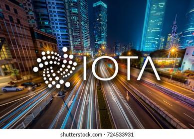 Concept of  IOTA,  a Cryptocurrency blockchain, Digital money