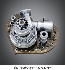 concept. iron heart turbocharger of car. High resolution 3d