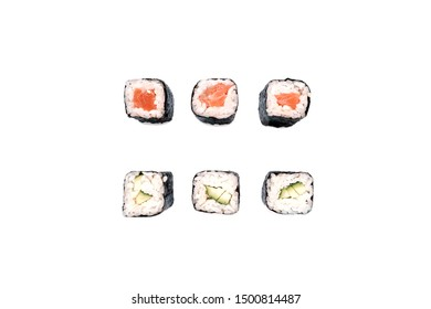 The concept of Japanese cuisine. Sushi delivery concept. Sushi, rolls with salmon, cucumber. White isolated background