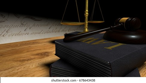 Concept of justice. Gavel or ceremonial mallet and balance over wood table with books. 3D Rendering.