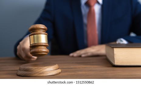 The concept of justice and law. judge in the courtroom with a hammer