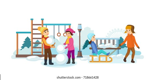 Concept - kids favorite winter activities. The children play in the playground, sledding, making snowmen, having fun and smiling. Cartoon illustration isolated on white background.