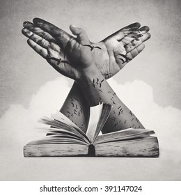 concept of knowledge, double exposure effect and vintage style