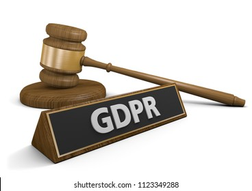 Concept for lawsuits and legal enforcement of the GDPR data privacy law in Europe, 3D rendering