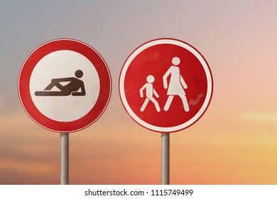 Concept the lazy, slacker, jobless - woman with a child walk away from a lying man. Road signs.