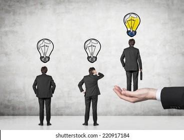 A concept of leadership. Chosen employee.