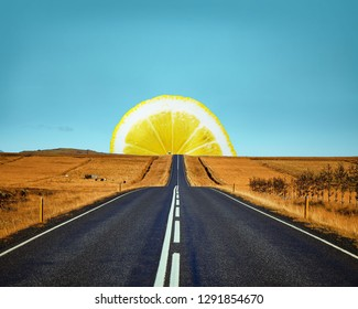 Concept lemon and road. Contemporary art collage. Abstract minimalism