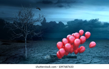 Concept of life after death. Air balls fly out of the grave and going up. Gloomy background. Religion. 3d render