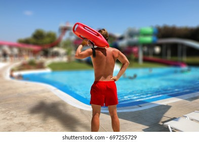 Concept of a lifeguard on watch out in an aqua park