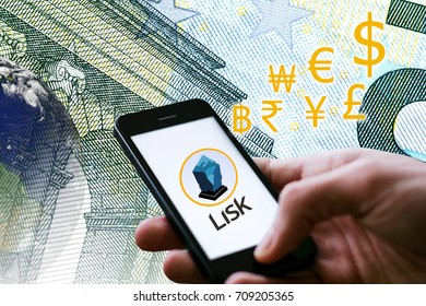 Concept of  Lisk Coin, a Cryptocurrency blockchain platform , Digital money