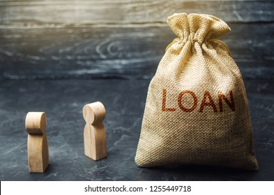 "The concept of ""Loan"". Businessmen are discussing questions about the company's loans. The financial loans between the lender and the borrower. Secured and mortgage loan. Refinement interest rates"