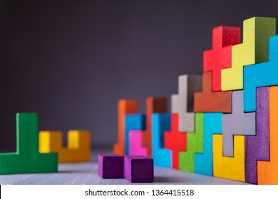 The concept of logical thinking. Geometric shapes on a gray background. Business building concept.
