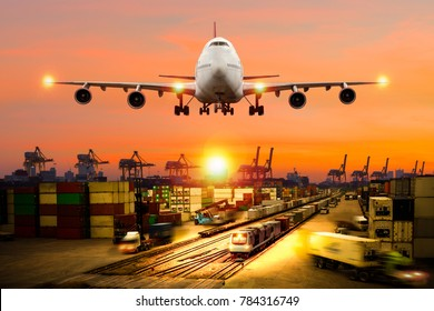 Concept of logistic industry, port train truck  and  airplane mixed together.
