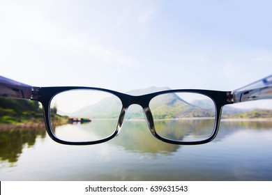 Concept looking through glasses for relax from work.