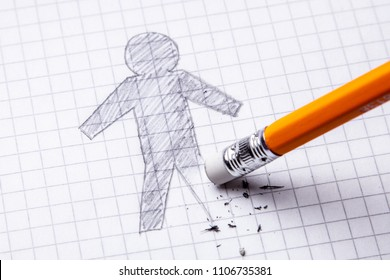 Concept. Loss of leg, amputation. Drawing with pencil of man with an erased leg