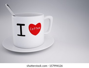 concept of i love coffee cup 3d rendering