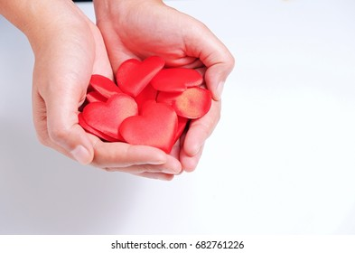 Concept of love, holding red hearts in hand on white background